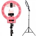 "12"" LED Ring Lights and 2m Light Stands US Standard Pink"
