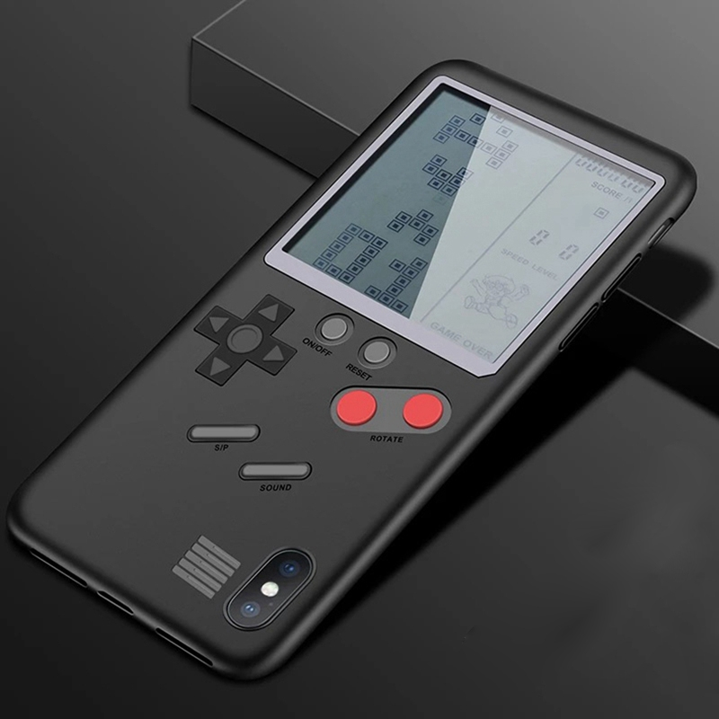 2574 Classic Games Console Tetris Game Phone Case Cover Black for iPhone XS