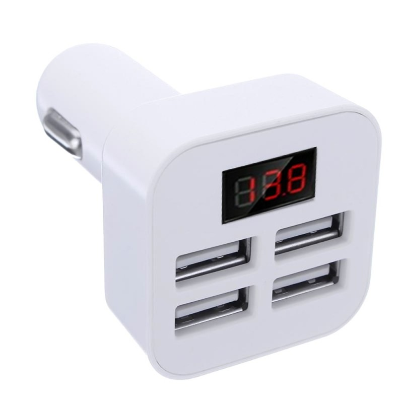 Quick Car Charger With 4 USB Port 5V 3.1A With LED Display Fast Charging Travel Charger Adapter Charger For iPhone Samsung Huawei iPad Tablet Camera