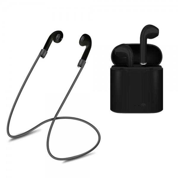 i7s BT Earphone TWS Headphones Portable Wireless Earphones With Charging Box black