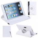 360 Degrees Rotating Protective Leather Case Skin Cover Stand for Apple iPad Mini White with Stylus Pen & Screen Protector & Cleaning Cloth