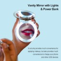 3000mAh Portable Charger Power-Bank 3X Magnifying Makeup Vanity Mirror with Lights Led Compact Mirror