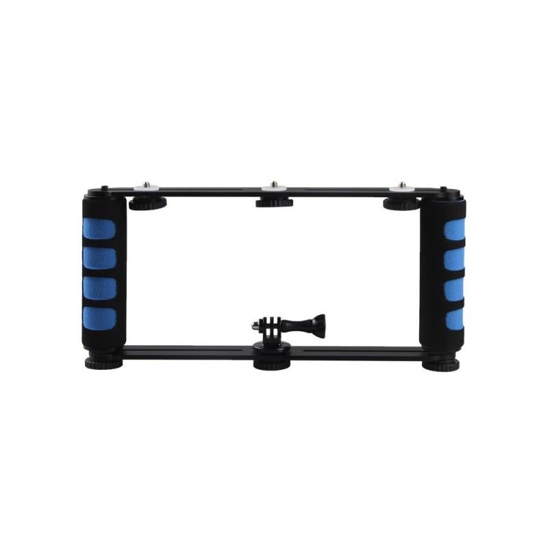 Aluminium Alloy Dual Handheld Grip Selfie Stick 1/4 Inch Screw Mounts Handgrip for Phone DSLR ILDC Action Camera Black