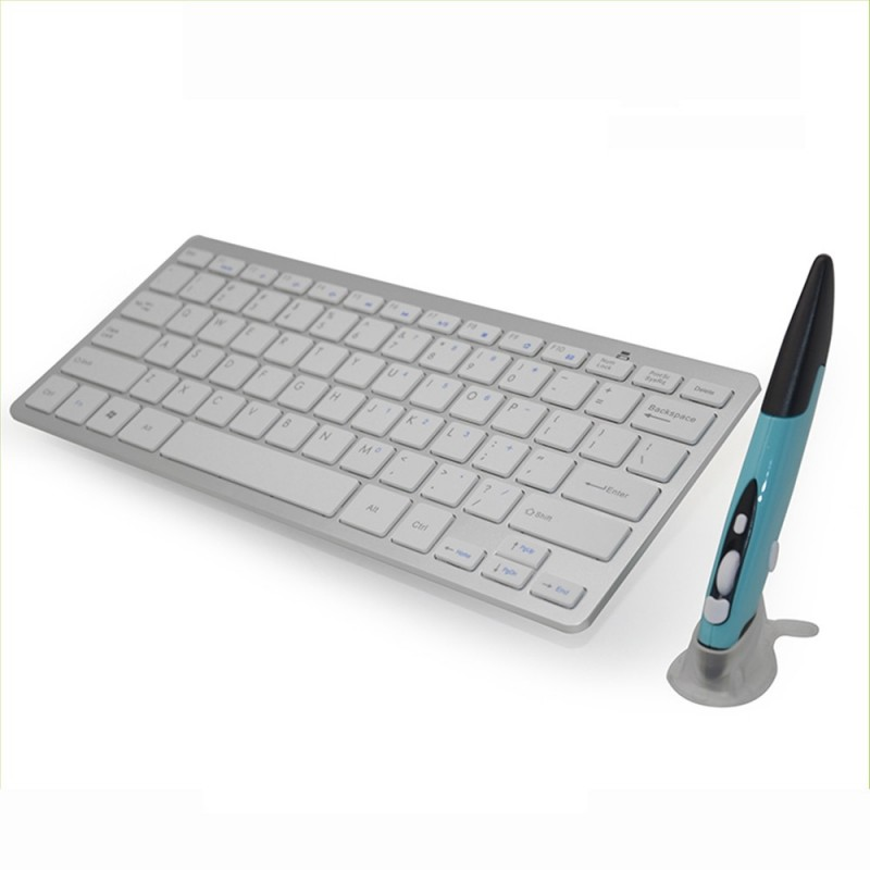 2.4G Wireless Keyboard and Mouse Combo Touch Pen Mouse & Modern Keyboard Combo KM-808 White Keyboard + Blue Pen Mouse