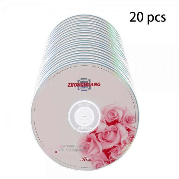 20PCS CD-R 700MB/80min Blank Disc Grade A 52X Multispeed Music CD Disk
