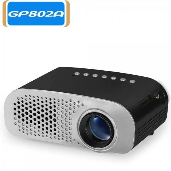 GP802A Projector Mini Portable 100 Lumen Video Projector LED with Built-in Speaker Support HD / VGA / AV / USB / SD 3.5mm Interface for Home Theater Entertainment