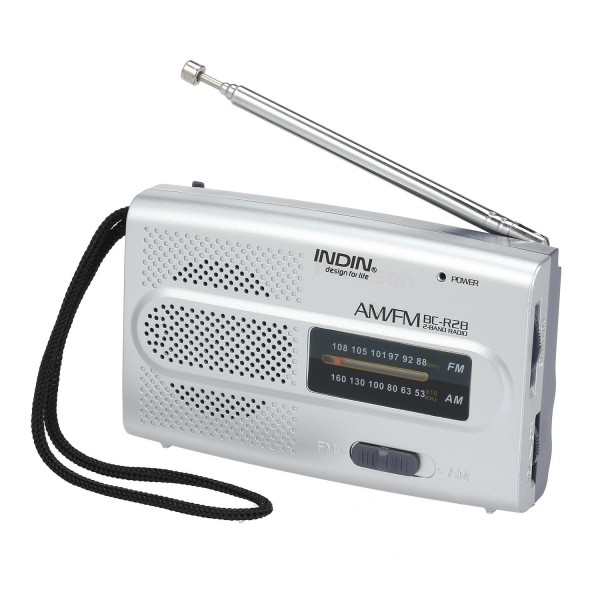 INDIN BC-R28 AM FM Radio Portable Pocket Radio Digital Music Player Mini Speaker for House & Outdoor