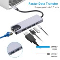 5 in 1 USB Hubs Adapter Type-C PD USB Charging Port Dual USB 3.0 RJ45 HDTV output Ports Compatible with Samsung Huawei MacBook