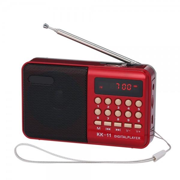 Mini FM Radio Portable MP3 Player TF Card U Disk Playback Built-in Speaker 3.5mm Headphone Jack Red