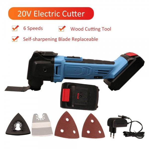 20V Multi-functional Electric Cutter 6 Speeds Rotary Cutting Machine Wood Plastics Metal Cutting Saw Trimming Tool Kit with Blade Replaceable